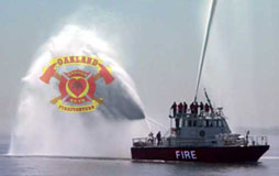 Fireboat in action
